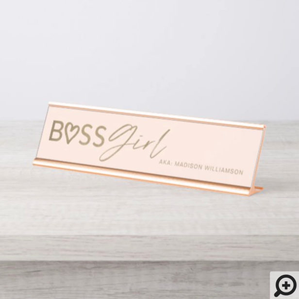 Modern Boss Girl Stylish Blush Pink & Gold Desk Name Plate