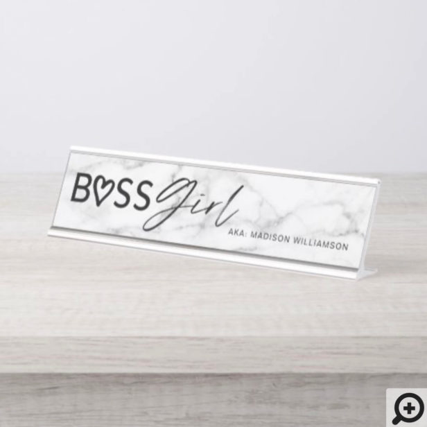 Modern Boss Girl Stylish White Grey Marble & Black Desk Name Plate