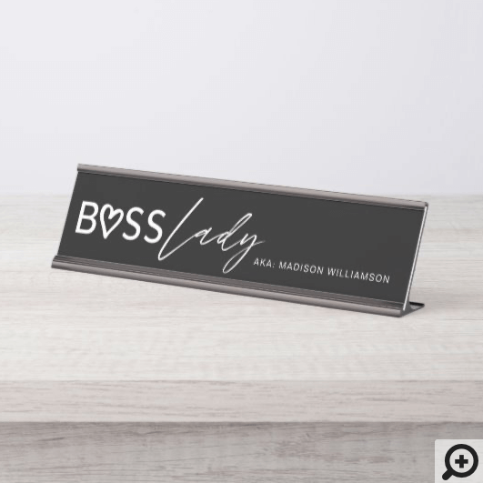 Modern Boss Lady Stylish Black & White Desk Name Plate