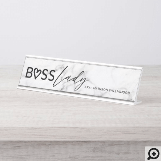 Modern Boss Lady Stylish White Grey Marble & Black Desk Name Plate