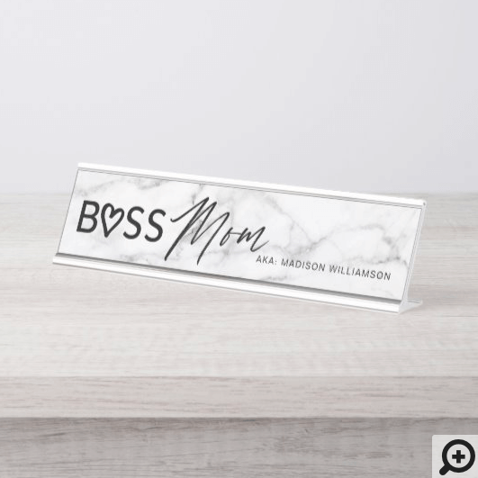 Modern Boss Mom Stylish White Grey Marble & Black Desk Name Plate
