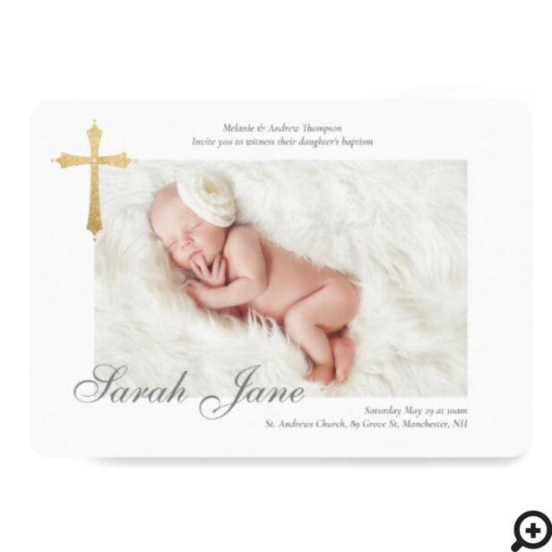 Modern Minimal Gold Gross Baby Photo Baptism Invitation