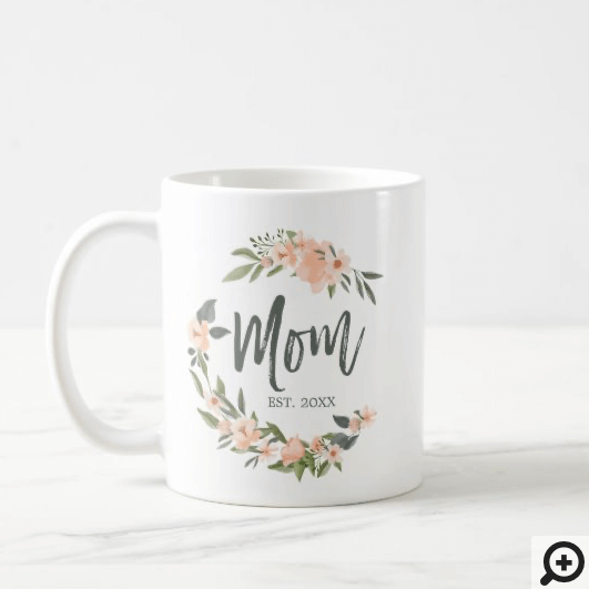 Mom Typography Pink Watercolor Wreath Mother's Day Coffee Mug