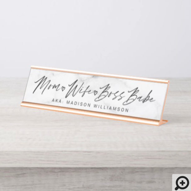 Mom, Wife, Boss Babe Trendy Brush Script & Marble Desk Name Plate
