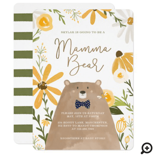 Momma Bear & Sweet Honey Bee Baby Boy Shower Invitation
