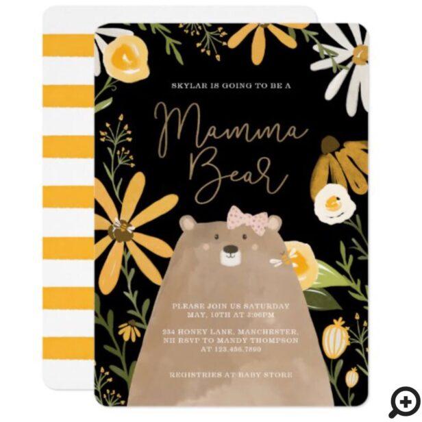 Momma Bear & Sweet Honey Bee Baby Girl Shower Black Invitation