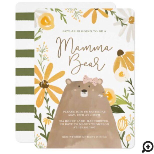 Momma Bear & Sweet Honey Bee Baby Girl Shower Invitation