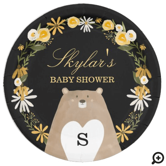 Momma Bear & Sweet Honey Bee & Floral Baby Shower Paper Plate