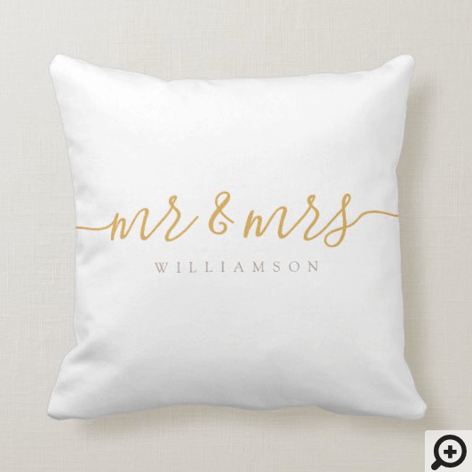 Mr & Mrs Gardenia Blush Watercolor Abstract Floral Throw Pillow