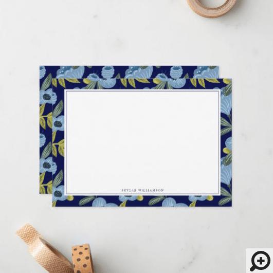 Navy & Blue Floral Blossom Botanical Pattern Notes
