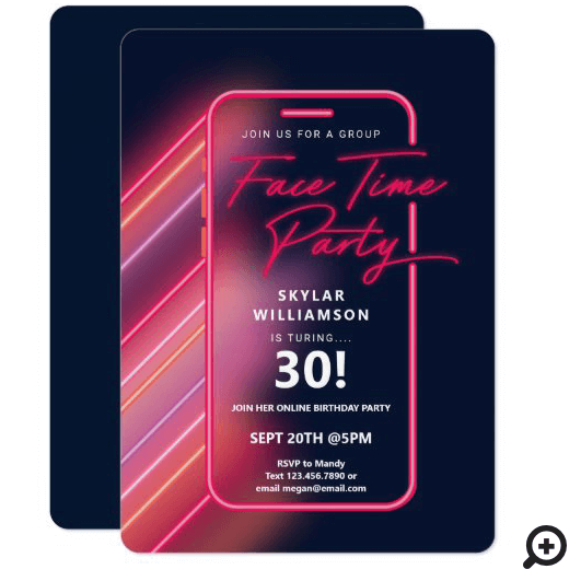 Neon Nightlife Vibe Online Group Video Chat Party Invitation Pink