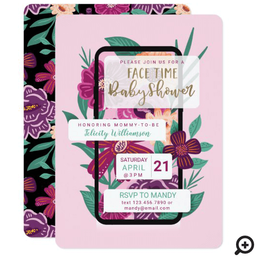 Online Video Chat Floral Phone Texting Baby Shower Invitation