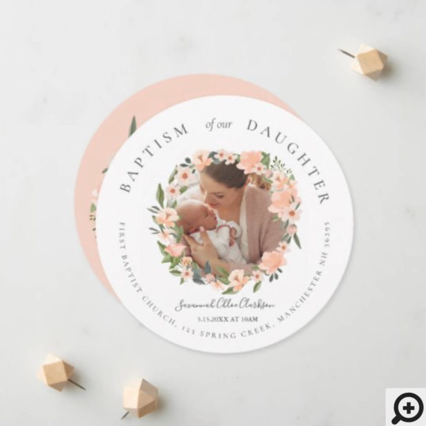 Peach Watercolor Floral Wreath Photo Baby Baptism Announcement