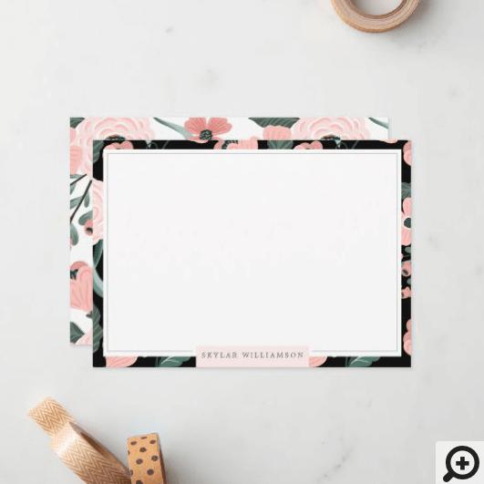 Pink & Black Floral Blossom Botanical Patter Notes