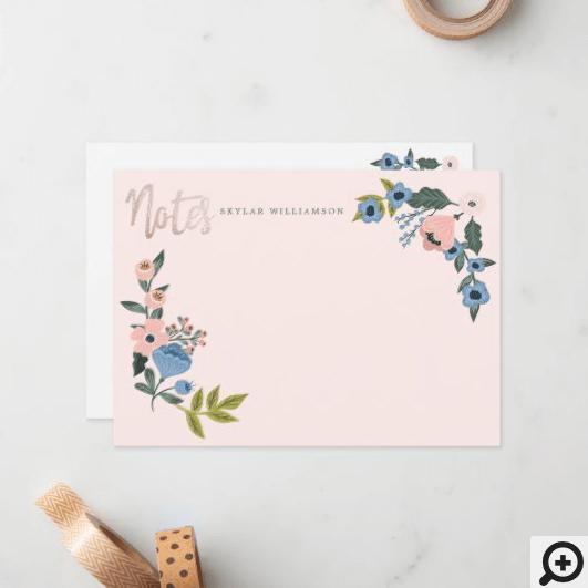 Pink & Blue Floral Blossom Botanical Wreath Notes