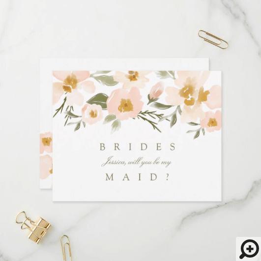 Pink Gardenia Watercolor Will You Be My Bridesmaid Invitation Postcard