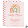 Rainbow & Hearts Online Virtual Girl Baby Shower Invitation