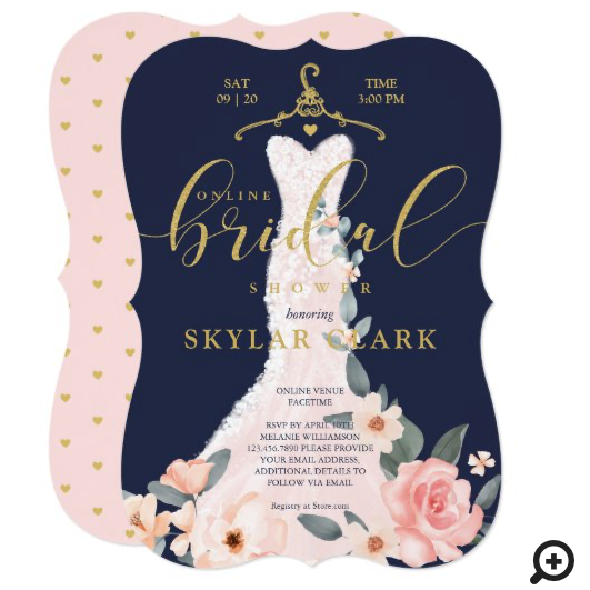 Floral Wedding Dress Navy Online Bridal Shower Invitation