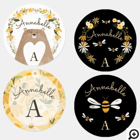 Sweet Honey Bee & Bear Watercolor Wildflower Labels