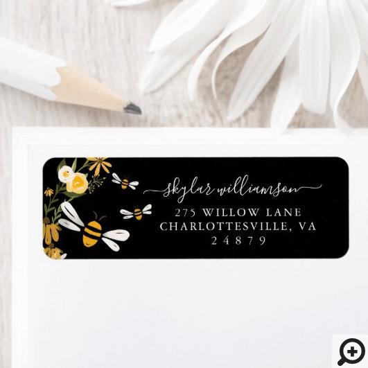 Sweet Honey Bee Watercolor Wildflowers Baby Shower Label Black