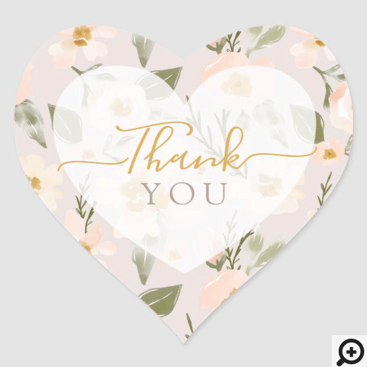 Thank You Gardenia Blush Watercolor Pink Floral Heart Sticker