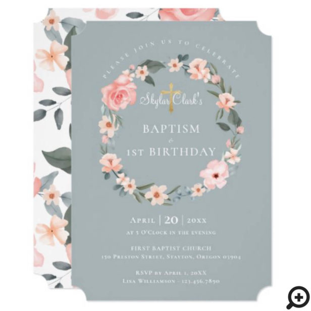 Watercolor Rose Floral Wreath Baptism 1st Birthday Invitation