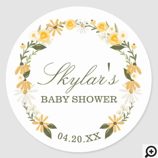 Watercolor Wildflower Florals Wreath Baby Shower Classic Round Sticker