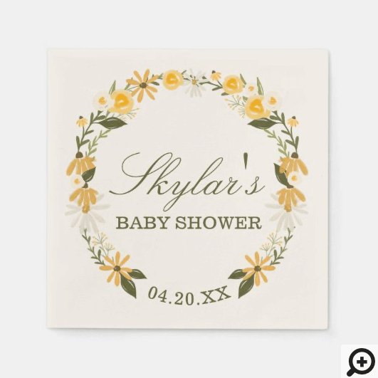Watercolor Wildflower Florals Wreath Baby Shower Napkins