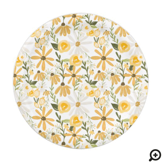 Watercolor Wildflower Springtime Florals Paper Plate