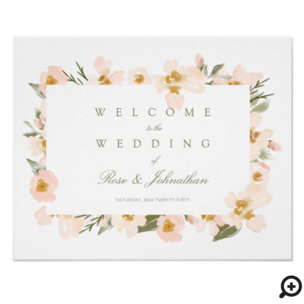 Wedding Welcome Gardenia Blush Watercolor Florals Poster