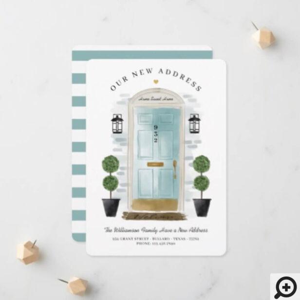 We've Moved - New Address Aqua Watercolor Door Announcement