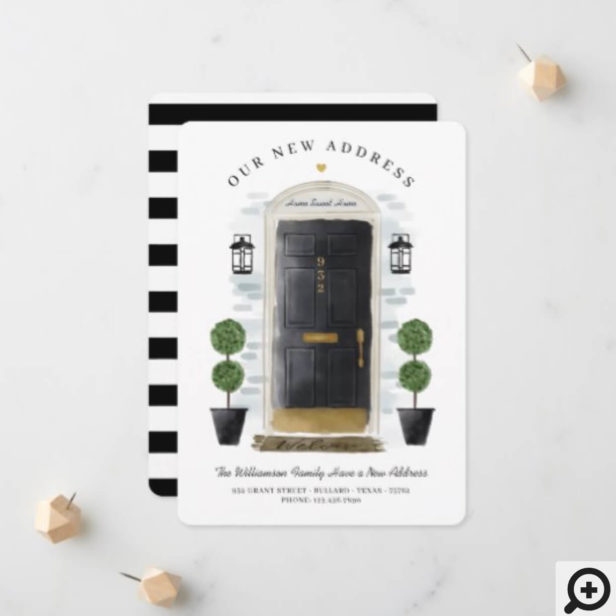We've Moved - New Address Black Watercolor Door Announcement