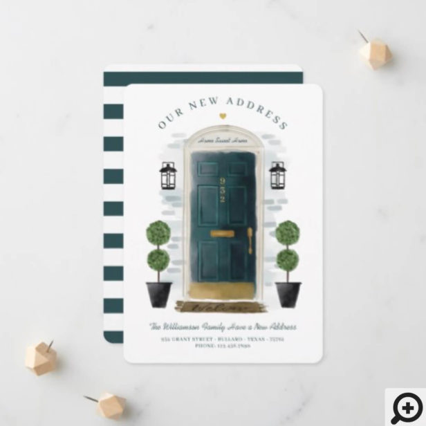 We've Moved - New Address Green Watercolor Door Announcement