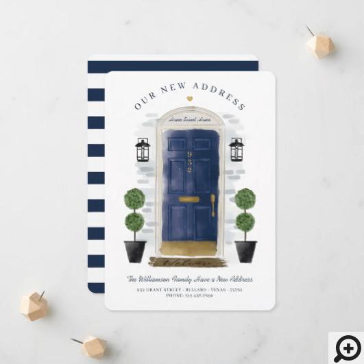 We've Moved - New Address Navy Watercolor Door Announcement