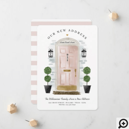 We've Moved - New Address Pink Watercolor Door Announcement
