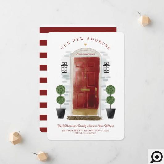 We've Moved - New Address Red Watercolor Door Announcement