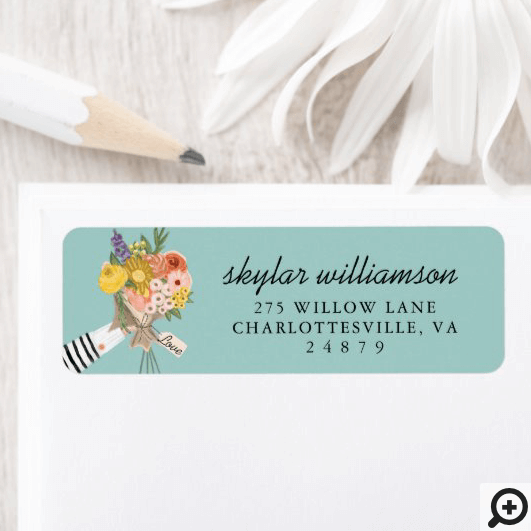 Wildflower Floral Bouquet Illustration Label
