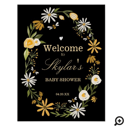 Wildflowers & Bee Baby Shower Welcome Sign