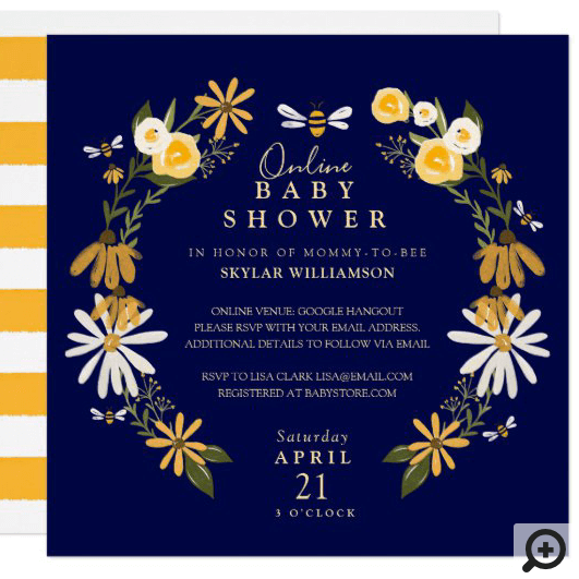 Wildflowers & Honey Bee Floral Online Baby Shower Invitation