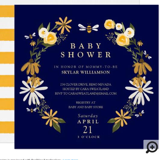Wildflowers & Honey Bee Floral Wreath Baby Shower Invitation
