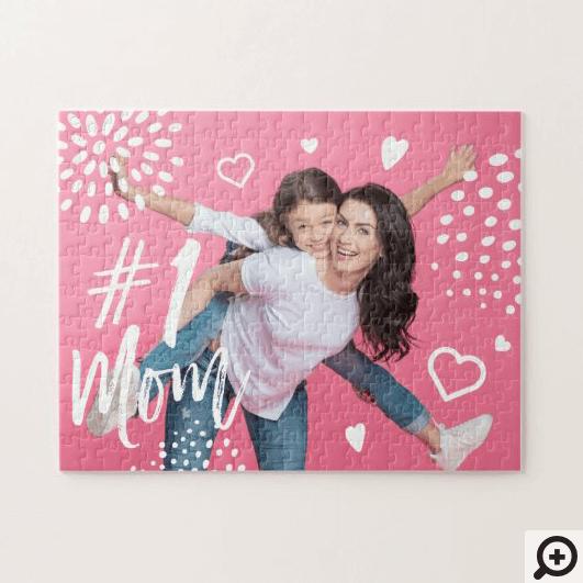 #1 Mom Full Photo, Hearts & Dot Pattern Jigsaw Puzzle