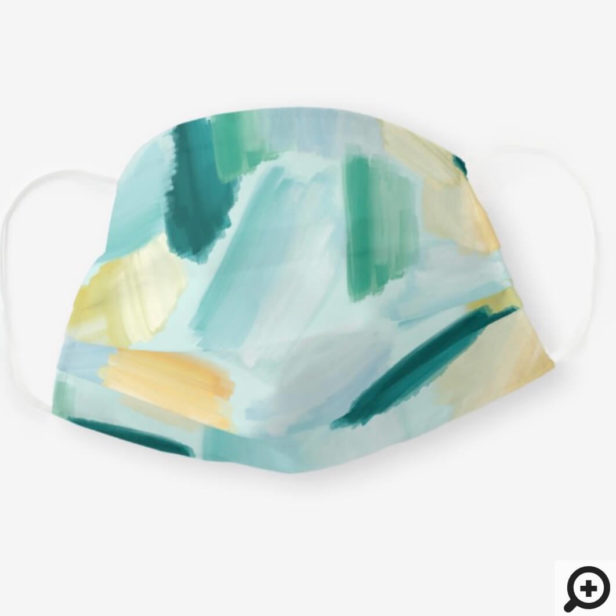 Abstract Wispy Watercolor Brush Strokes Mint Cloth Face Mask