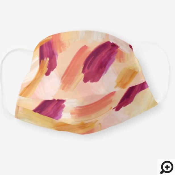 Abstract Wispy Watercolor Brush Strokes Peach Cloth Face Mask