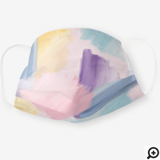 Abstract Wispy Watercolor Brush Strokes Pink Cloth Face Mask