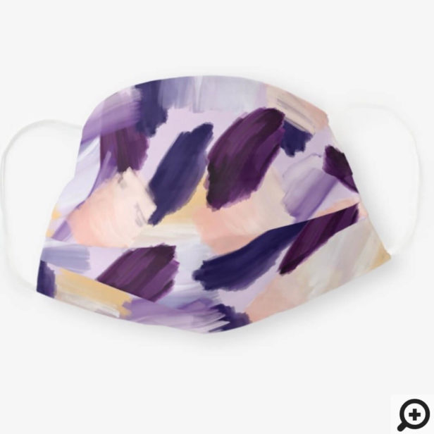 Abstract Wispy Watercolor Brush Strokes Purple Cloth Face Mask