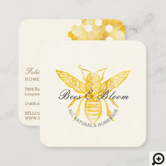 Bees & Bloom Floral Elegant & Decorative Honey Bee Square Business Card