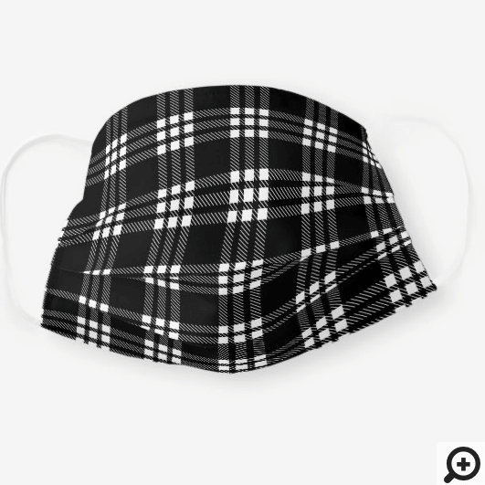 Black & White Modern Checkerboard Plaid Pattern Cloth Face Mask