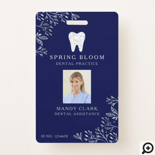 Blooming Flourishing Dental Tooth Logo ID Photo Badge