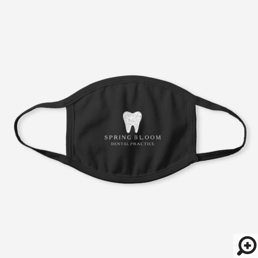 Blooming Flourishing Dental Tooth Tree Logo Black Cotton Face Mask