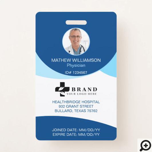 Blue Circle Design   Medical Photo ID & Logo Badge